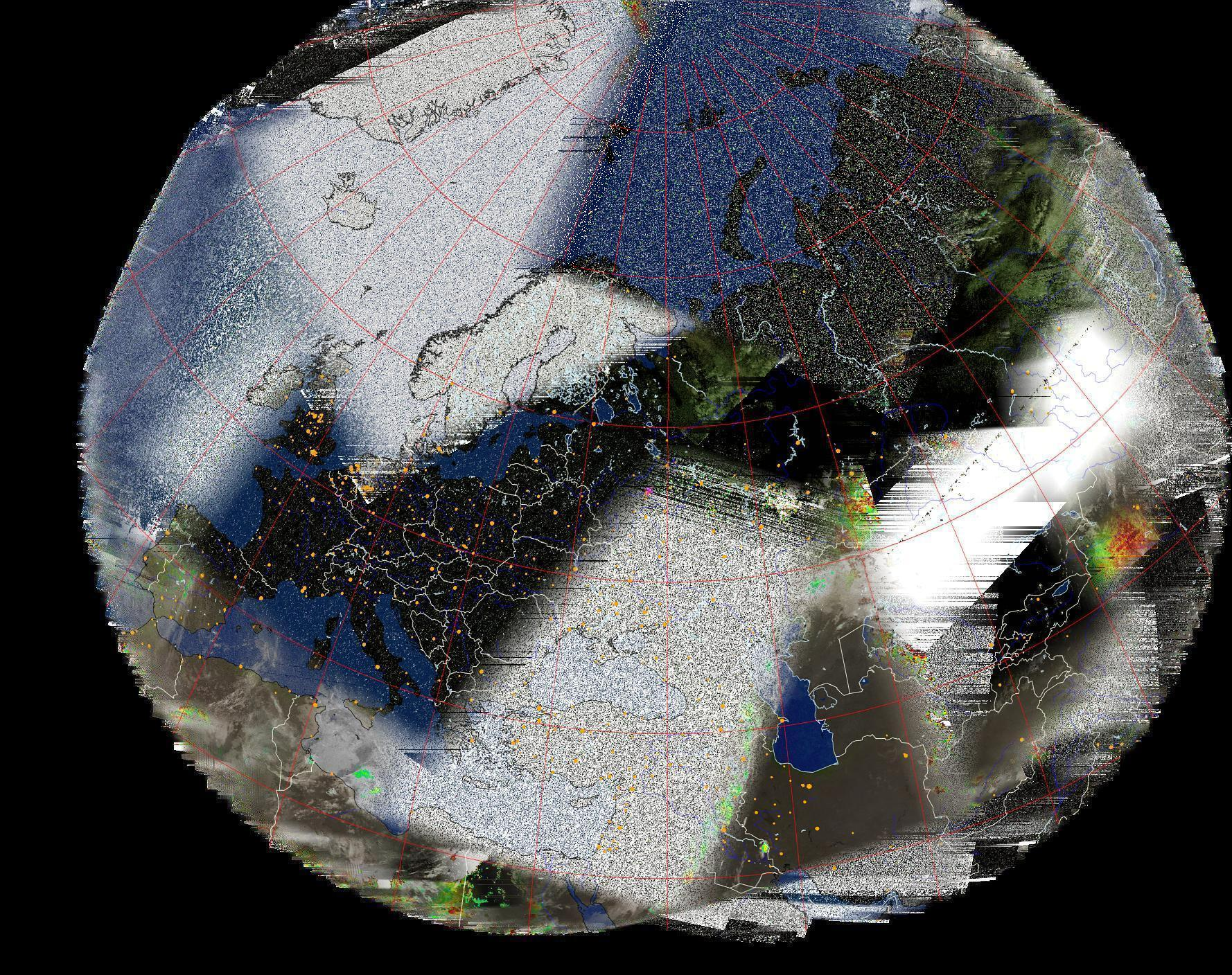 Composite weather satellite image